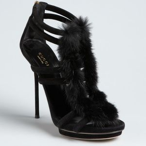 EUC [Gucci] Suede Mink Fur Cage Evening Sandals